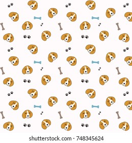 Vector seamless pattern with cute cartoon dog puppies with dog paw print and bone