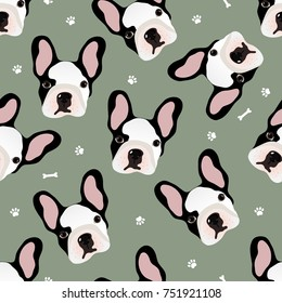 Vector seamless pattern with cute cartoon dog puppies.French Bulldog pattern