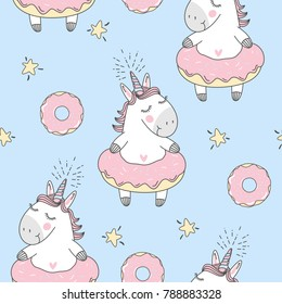 Vector seamless pattern with cute cartoon unicorn and donuts