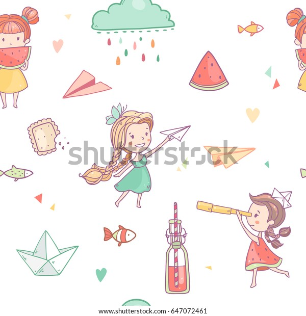 Vector seamless pattern with cute cartoon summer girls, lemonade, cookies, paper airplane,clouds and so on