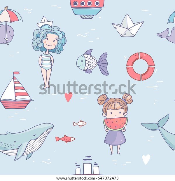 Vector seamless pattern with cute cartoon summer girls, fishes, whales, ship, watermelon
