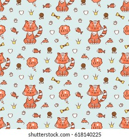 Vector Seamless pattern with Cute Cat and accessories for Pets. I love cats. Hand Drawn Doodle Kitten