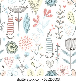 Vector seamless pattern with cute cats and flowers