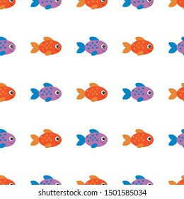 vector seamless pattern with cute childish fishes