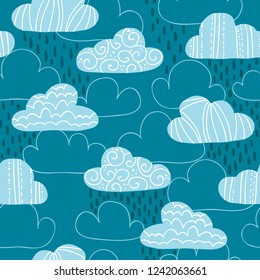Vector seamless pattern with cute clouds and raindrops. Great for wrapping paper, textiles, children's clothing, wallpaper, etc.