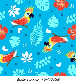 Vector seamless pattern with cute cockatoo and exotic tropical leaves. Pattern for fabric, baby clothes, background, textile, wrapping paper and other decoration. Vector illustration.