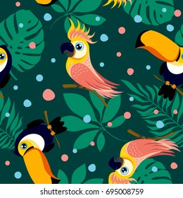 Vector seamless pattern with cute cockatoo, toucan and exotic tropical leaves. Pattern for fabric, baby clothes, background, textile, wrapping paper and other decoration. Vector illustration.