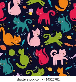 vector seamless pattern. cute colored cats. for wallpaper, textiles.