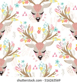 Vector seamless pattern of cute deer and flowers