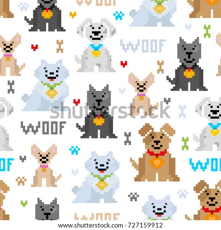 vector seamless pattern cute different breeds stock vector royalty