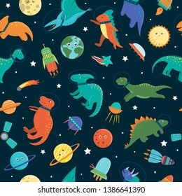 Vector seamless pattern with cute dinosaurs in outer space. Funny flat cosmic dino characters background. Cute prehistoric reptiles illustration