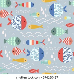 Vector seamless pattern with cute fish