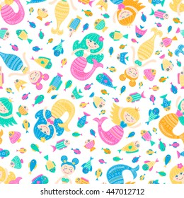 Vector seamless pattern with cute flat mermaid and fish. Cartoon sea girl with doodle ornament. Nice childish background for your design. Light colors marine elements on white backdrop.