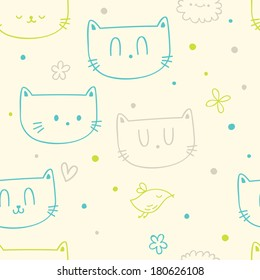 Vector seamless pattern with cute funny cats and birds