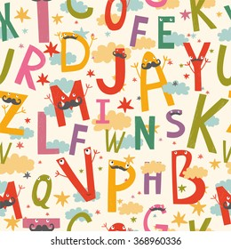 vector seamless pattern with cute, funny letters.