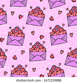 vector seamless pattern with cute hand-drawn envelopes with hearts and declarations of love. it can be used as wallpaper, background, print, textile design, notebooks, phone cases, packaging paper.