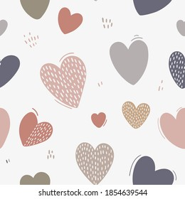Vector seamless pattern of cute hearts. Decorative wallpaper. Background for Valentine's day