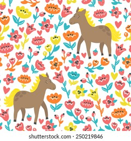 Vector seamless pattern with cute horses and flowers. Bright childish background with funny cartoon characters. Natural texture.