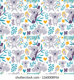 Vector seamless pattern with cute koala bears and floral element. Bright childish texture with funny animals, leaves, flowers. Print foe kids textile.