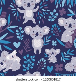 Vector seamless pattern with cute koala bears and floral element. Bright childish texture with funny animals, leaves, flowers. Print for kids textile.