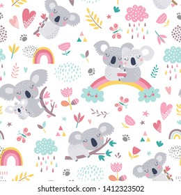 Vector seamless pattern with cute koala