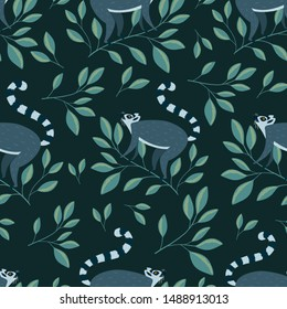 Vector seamless pattern with  cute lemurs on the branch vector illustration