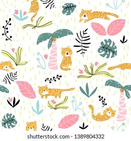 Vector seamless pattern with cute leopard and tropical plants. Nursery texture in scandinavian style great for children's clothes,  fabric, textile, wallpapers, backgrounds.