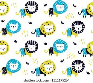 vector seamless pattern, cute lions in scandinavian style