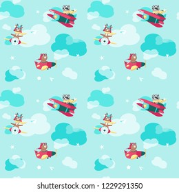 Vector seamless pattern with cute little bear, deer and raccon flying on airplane and biplane. Funny pilot animals background, wallpaper, fabric, wrapping paper.
