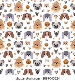 Vector seamless pattern with cute little dogs and their footprints. cute pattern with pugs, pomeranian spitz. flat style illustration for veterinary clinics, pet stores, animal care products design