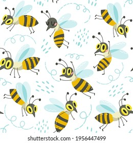 Vector seamless pattern of cute little busy bees.