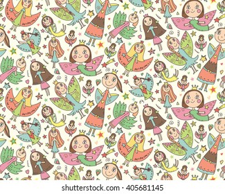 Vector seamless pattern with cute lovely fairies in children's drawing style. Holiday celebration endless background.