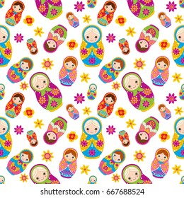 Vector seamless pattern with cute matryoshka, traditional Russian doll. Russian nesting doll, babushka doll. Matreshka vector illustration.