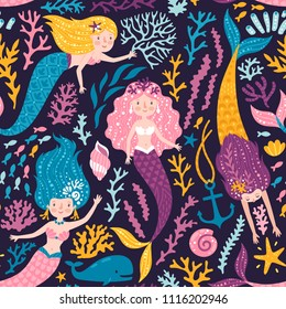 Vector seamless pattern with cute mermaids, whale, corals and seaweed. Childish repeated texture with cute girls and sea elements. Bright background with magical creatures.