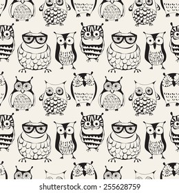 Vector seamless pattern with cute owls. Cartoon characters of creative professions. Sleepy dudes in the form of birds with an individual appearance. Hipsters monochrome print. Stylish graphic design