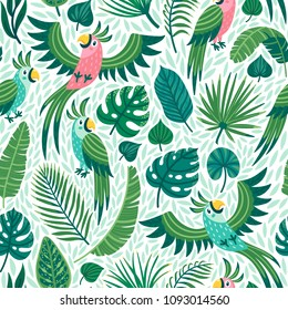 Vector seamless pattern with cute parrots and palm leaves. Repeated texture with birds in the rainforest. Colorful summer background with jungle animals and plants.