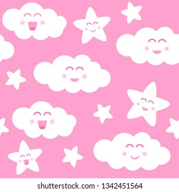 Vector seamless pattern with cute pink clouds