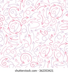 Vector seamless pattern with cute pink doodle arrows.