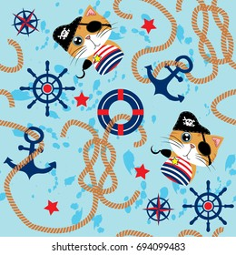 Vector seamless pattern with cute pirate cat, steering wheel and anchor. Cute Marine pattern for fabric, baby clothes, background, textile, wrapping paper and other decoration. Vector illustration.