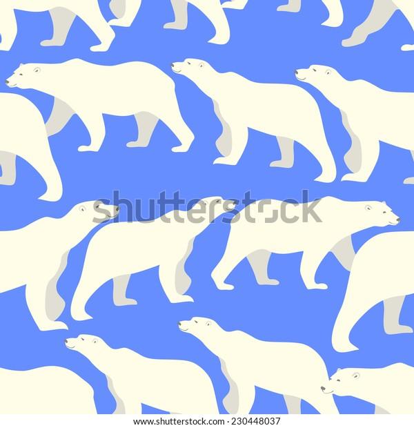 Vector seamless pattern with cute polar bears.
