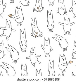 vector seamless pattern with cute rabbits in monochrome color palette