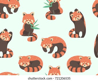 Vector seamless pattern with cute red pandas.