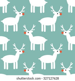 Vector seamless pattern with cute reindeer. Childish background with deers. Repeating holiday texture with animals.