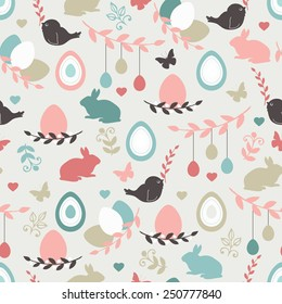 Vector seamless pattern with cute retro icons for Easter design. Easter background.