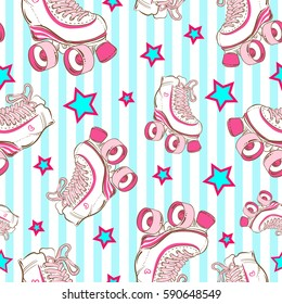 Vector seamless pattern with cute retro roller skates on blue striped background with stars