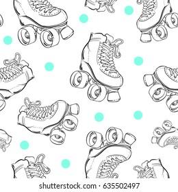 Vector seamless pattern with cute retro roller skates. Vintage sketch style background