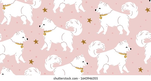 Vector seamless pattern with cute samoyed dogs, stars on pink. Nursery, textile, fabric design for kids, boys, girls. Scandinavian style textile. Dogs, puppies illustrations children pattern design