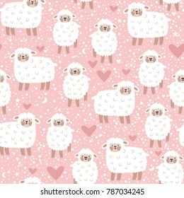 Vector seamless pattern with cute sheep, heart, star and dots. Pink childish repeated texture with smiling cartoon character.
