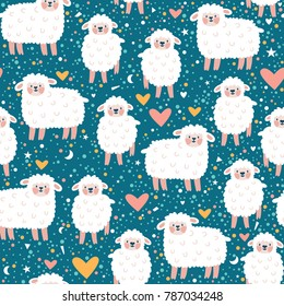 Vector seamless pattern with cute sheep, heart, star and dots. Blue childish repeated texture with smiling cartoon character.
