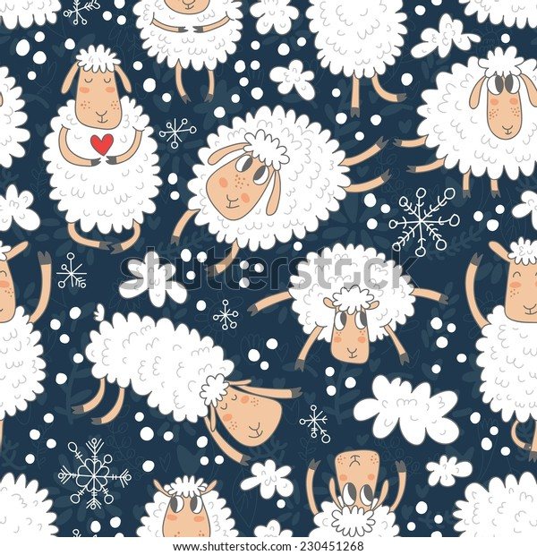 Vector seamless pattern with cute sheep and snowflakes. Hand drawing seamless texture with funny cartoon characters.